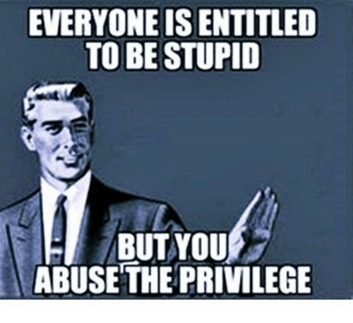 entitlement: EVERYONE IS ENTITLED  TO BE STUPID  BUT YOU  ABUSE THE PRIVILEGE
