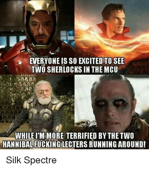 Hannibal Lecter, Memes, and Excite: EVERYONE IS SO EXCITED TO SEE  TWO SHERLOCKS IN THE MCU  WHILE MORE TERRIFIED BYTHE TWO  HANNIBAL  LECTERS RUNNINGAROUND! Silk Spectre