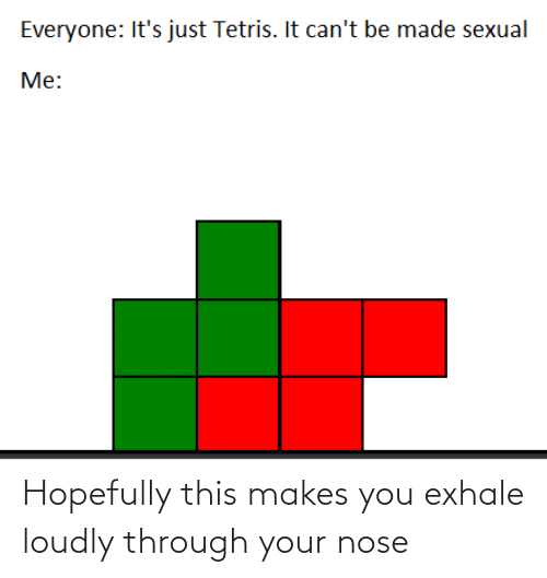 nose: Everyone: It's just Tetris. It can't be made sexual  Me: Hopefully this makes you exhale loudly through your nose