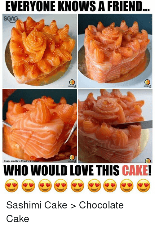 chocolate cake: EVERYONE KNOWS A FRIEND  SGAG  CHASIN  Image credits to Chasing  WHO WOULD LOVE THIS CAKE! Sashimi Cake > Chocolate Cake