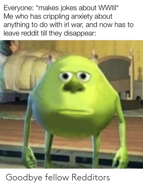 Crippling Anxiety: Everyone: *makes jokes about WII*  Me who has crippling anxiety about  anything to do with irl war, and now has to  leave reddit till they disappear: Goodbye fellow Redditors