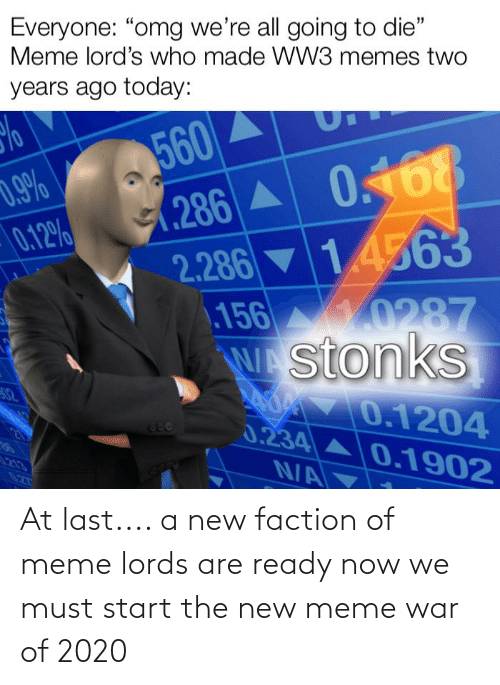 """Die Meme: Everyone: """"omg we're all going to die""""  Meme lord's who made WW3 memes two  years ago today:  560  (.286 A  2.286 14563  156 0287  stonks  0.168  0.9%  0.12%  32  0.1204  0.234A0.1902  N/A  680  21  213  027 At last.... a new faction of meme lords are ready now we must start the new meme war of 2020"""