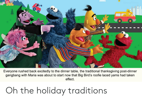 roofie: Everyone rushed back excitedly to the dinner table, the traditional thanksgiving post-dinner  gangbang with Maria was about to start now that Big Bird's roofie laced yams had taken  effect Oh the holiday traditions