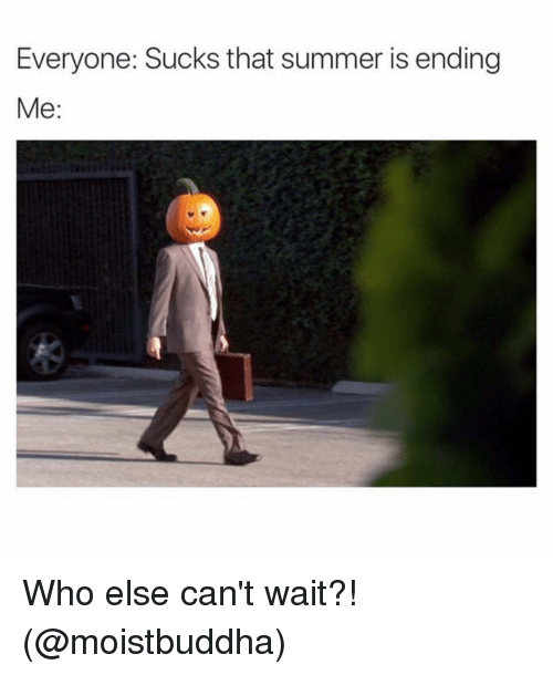 Memes, 🤖, and Wait: Everyone: Sucks that summer is ending  Me Who else can't wait?! (@moistbuddha)