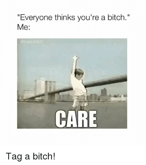 """Bitch, Girl Memes, and Youre: """"Everyone thinks you're a bitch.""""  Me:  @basicbitch  CARE Tag a bitch!"""