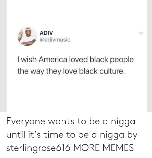 Wants: Everyone wants to be a nigga until it's time to be a nigga by sterlingrose616 MORE MEMES