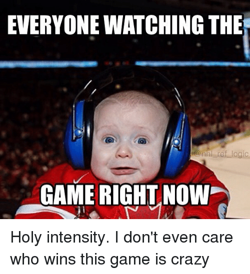 Crazy, Logic, and Memes: EVERYONE WATCHING THE  ref logic  nh GAME RIGHT NOW Holy intensity. I don't even care who wins this game is crazy