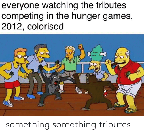 The Hunger Games: everyone watching the tributes  competing in the hunger games,  2012, colorised something something tributes
