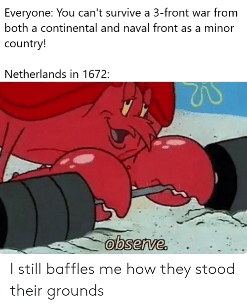 Netherlands: Everyone: You can't survive a 3-front war from  both a continental and naval front as a minor  country!  Netherlands in 1672:  observe. I still baffles me how they stood their grounds