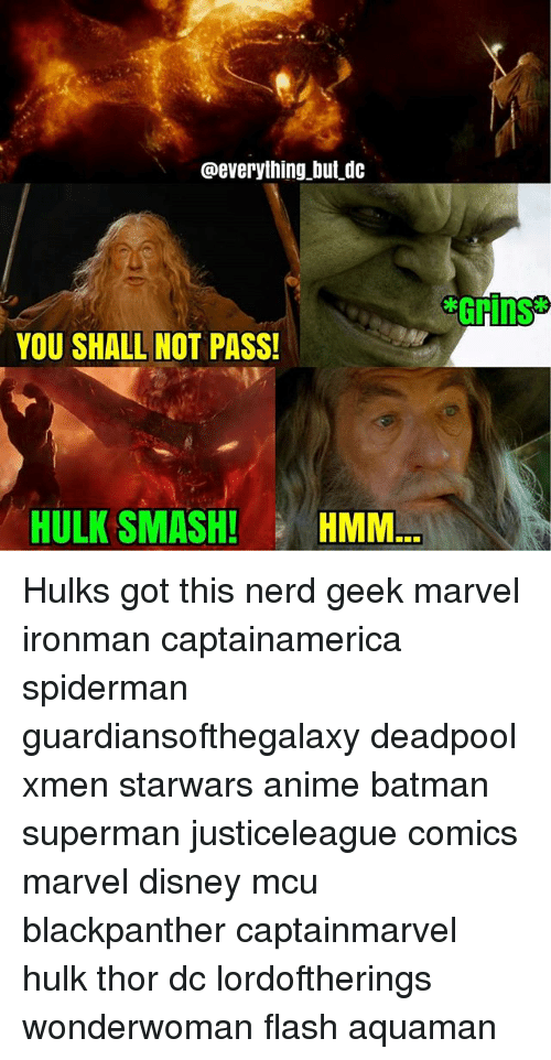 hulk smash: @everything but dc  YOU SHALL NOT PASS!  HULK SMASH! HMM. Hulks got this nerd geek marvel ironman captainamerica spiderman guardiansofthegalaxy deadpool xmen starwars anime batman superman justiceleague comics marvel disney mcu blackpanther captainmarvel hulk thor dc lordoftherings wonderwoman flash aquaman