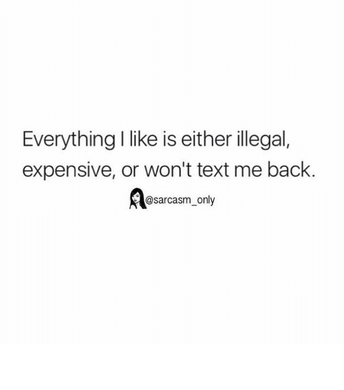 illegible: Everything I like is either illegal,  expensive, or won't text me back.  d@sarcasm only ⠀