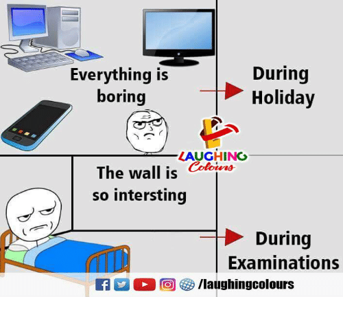 Indianpeoplefacebook, The Wall, and Holiday: Everything is  boring  During  Holiday  LAUGHING  The wall is Colouers  so intersting  During  Examinations  떠  @ G /laughingcolours