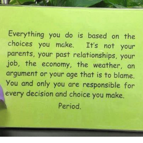 Memes, Parents, and Period: Everything you do is based on the  choices you make. It's not your  parents, your past relationships, your  job, the economy, the weather, an  argument or your age that is to blame.  You and only you are responsible for  every decision and choice you make.  Period.