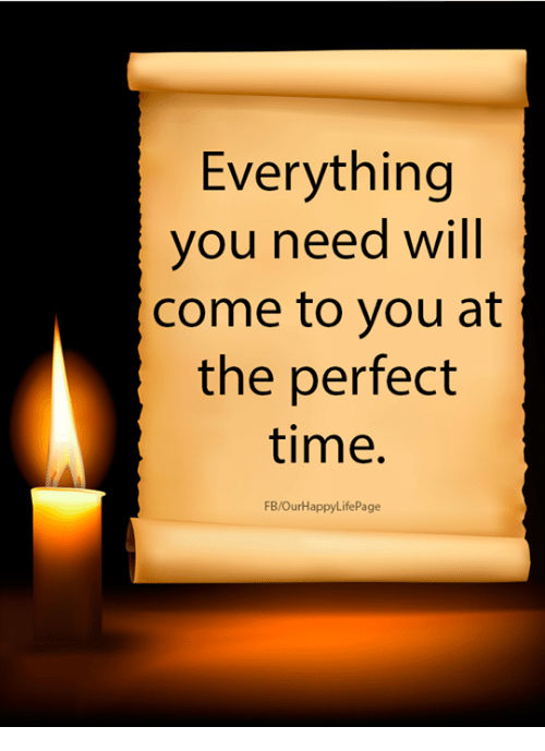 Time, Will, and You: Everything  you need will  come to you at  the perfect  time.  FB/OurHappyLifePage