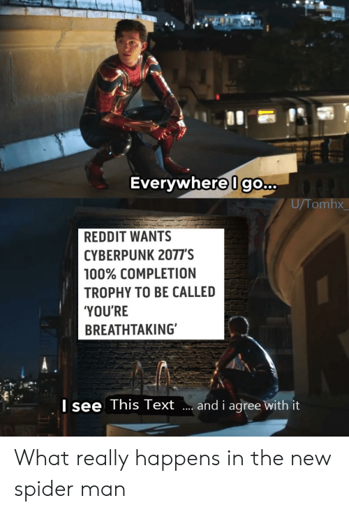 cyberpunk: Everywhere Igo...  U/Tomhx  REDDIT WANTS  CYBERPUNK 2077'S  100% COMPLETION  TROPHY TO BE CALLED  'YOU'RE  BREATHTAKING  Isee This Text  and i agree with it What really happens in the new spider man