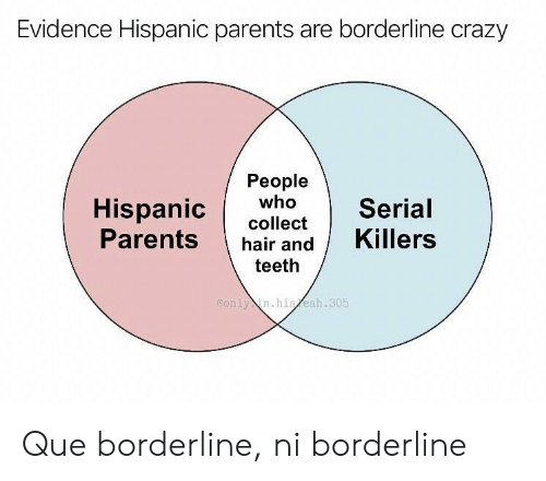 hispanic: Evidence Hispanic parents are borderline crazy  People  who  Hispanic  Parents  Serial  collect  Killers  hair and  teeth  Conly in.hiaeah.305 Que borderline, ni borderline