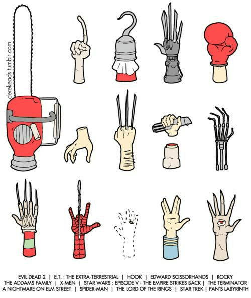 the addams family: EVIL DEAD 2 E.T. THE EXTRA-TERRESTRIAL 1 HOOK I EDWARD SCISSORHANDS ROCKY  THE ADDAMS FAMILY I X-MEN I STAR WARS: EPISODE V-THE EMPIRE STRIKES BACK I THE TERMINATOR  ANIGHTMARE ON ELM STREETI SPIDER-MANI THE LORD OF THE RINGS I STAR TREK I PAN'S LABYRINTH  derekeads.tumblr.com