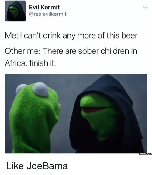 Joebama: Evil Kermit  arealevilkermit  Me: I can't drink any more of this beer  Other me: There are sober children in  Africa, finish it.  Comm Like JoeBama