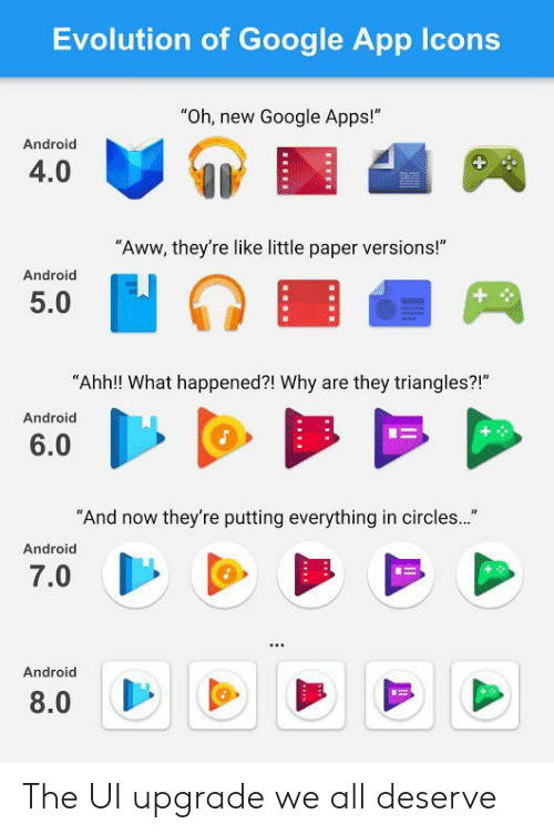 """google app: Evolution of Google App Icons  """"Oh, new Google Apps!""""  Android  4.0  """"Aww, they're like little paper versions!""""  Android  5.0  """"Ahh!! What happened?! Why are they triangles?!""""  Android  6.0  And now they're putting everything in circles...  Android  7.0  Android  8.0 The UI upgrade we all deserve"""