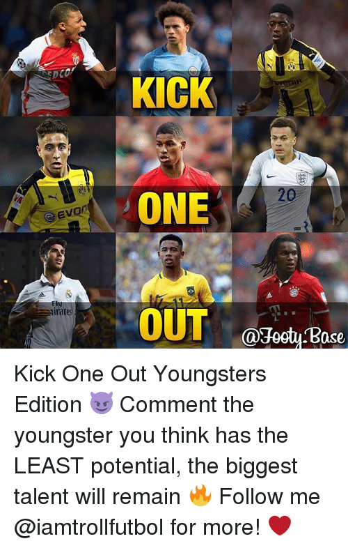 Ased: Evon  CSE  irat  KICK  ONE  OUT  Ca3octy ase Kick One Out Youngsters Edition 😈 Comment the youngster you think has the LEAST potential, the biggest talent will remain 🔥 Follow me @iamtrollfutbol for more! ❤️