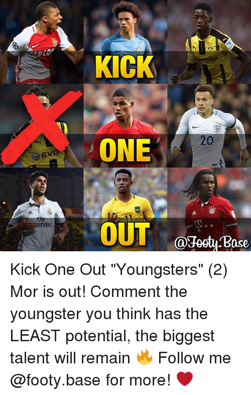"""Ased: Evon  irat  KICK  20  ONE  OUT  @Footy ase Kick One Out """"Youngsters"""" (2) Mor is out! Comment the youngster you think has the LEAST potential, the biggest talent will remain 🔥 Follow me @footy.base for more! ❤️"""
