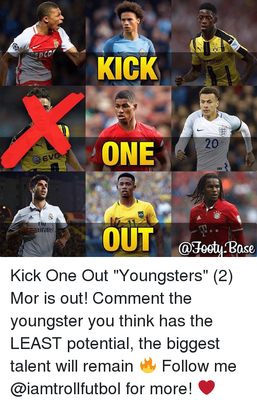 """Ased: Evon  irat  KICK  ONE  OUT  Ca3ogtu ase Kick One Out """"Youngsters"""" (2) Mor is out! Comment the youngster you think has the LEAST potential, the biggest talent will remain 🔥 Follow me @iamtrollfutbol for more! ❤️"""