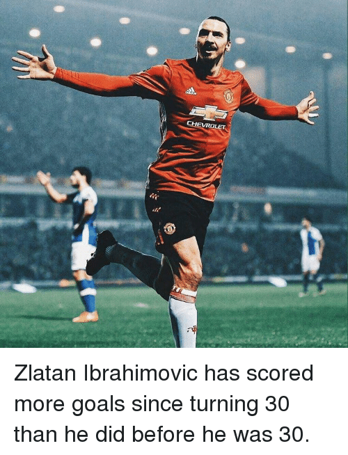 Goals, Memes, and Zlatan Ibrahimovic: EVROLET Zlatan Ibrahimovic has scored more goals since turning 30 than he did before he was 30.
