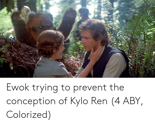aby: Ewok trying to prevent the conception of Kylo Ren (4 ABY, Colorized)