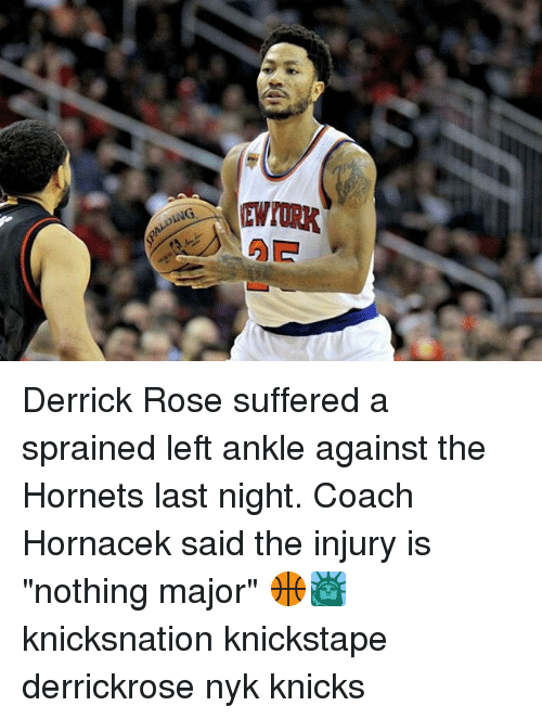 """Derrick Rose, Memes, and 🤖: EWroRK Derrick Rose suffered a sprained left ankle against the Hornets last night. Coach Hornacek said the injury is """"nothing major"""" 🏀🗽 knicksnation knickstape derrickrose nyk knicks"""