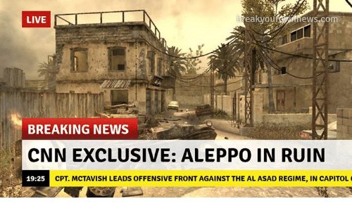 Memes, Breaking News, and Breaking News Cnn: eWS.com  BREAKING NEWS  CNN EXCLUSIVE: ALEPPO IN RUIN  CPT MCTAVISH LEADS OFFENSIVE FRONT AGAINST THE AL ASAD REGIME, IN CAPITOL  19:25