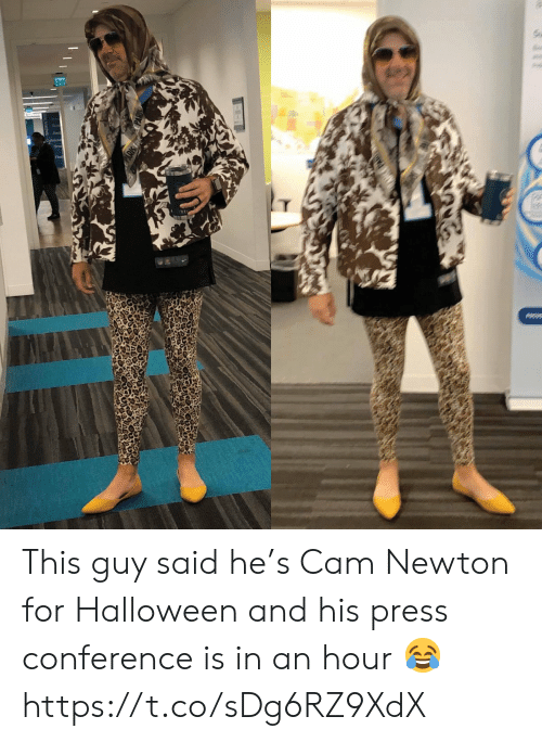 press conference: Ex  Cabe This guy said he's Cam Newton for Halloween and his press conference is in an hour 😂 https://t.co/sDg6RZ9XdX