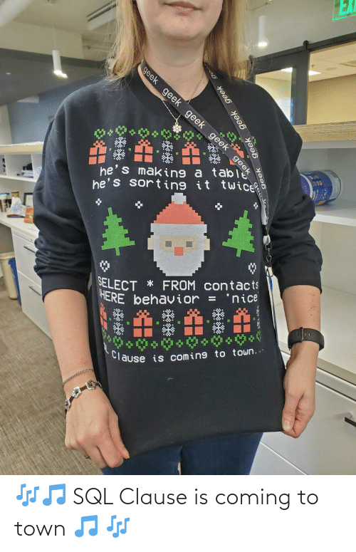 contacts: EX  geek geek geek geek geek  he's making a ta eek  he's sorting it twice  SELECT * FROM contacts  HERE behavior =  'nice  %3D  Clause is coming to town..  geek  geek geek geek ge 🎶🎵 SQL Clause is coming to town 🎵 🎶