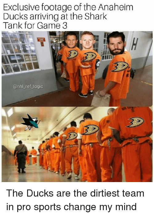 Anaheim Ducks: Exclusive footage of the Anaheim  Ducks arriving at the Shark  Tank for Game 3  @nhl_ref_logic The Ducks are the dirtiest team in pro sports change my mind
