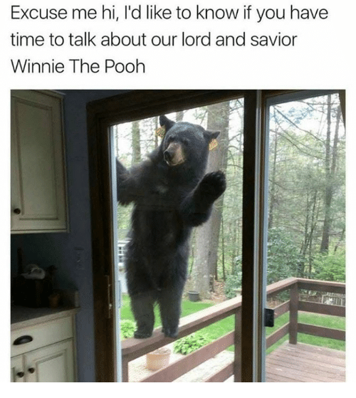 Lord And Savior: Excuse me hi, I'd like to know if you have  time to talk about our lord and savior  Winnie The Poohh