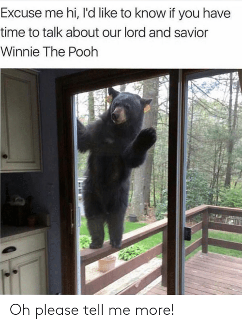 Lord And Savior: Excuse me hi, I'd like to know if you have  time to talk about our lord and savior  Winnie The Pooh Oh please tell me more!