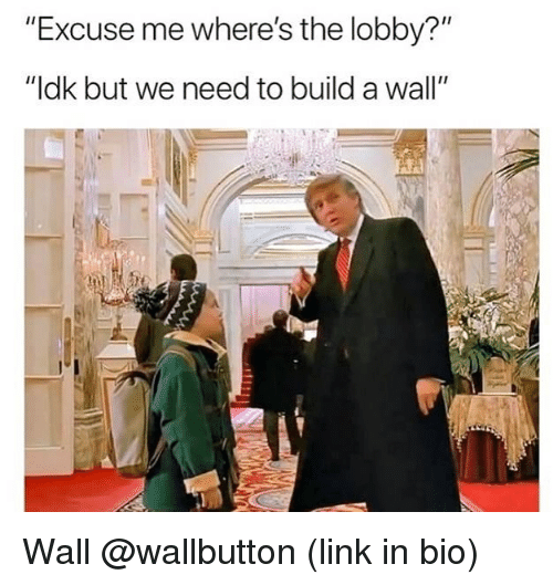 """Link, Dank Memes, and Build A: """"Excuse me where's the lobby?""""  """"ldk but we need to build a wall"""" Wall @wallbutton (link in bio)"""