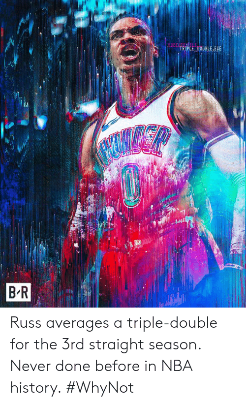 a triple double: EXE  TRİPLE-DOUBLE.EXE  B R Russ averages a triple-double for the 3rd straight season. Never done before in NBA history.  #WhyNot