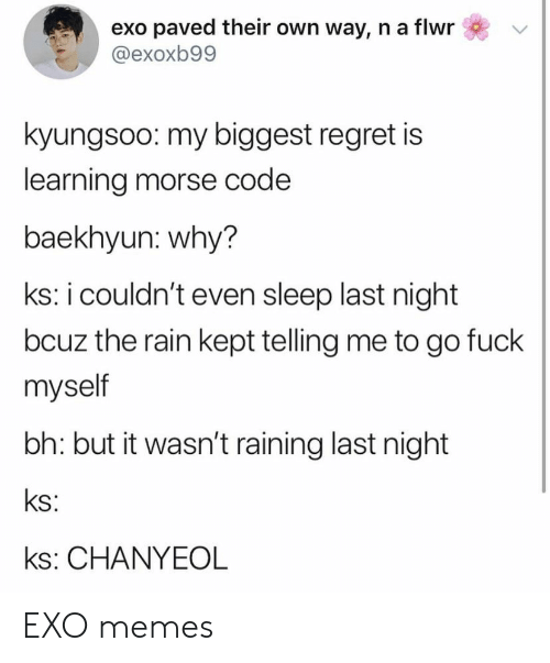 raining: exo paved their own way, n a flwr  @exoxb99  kyungsoo: my biggest regret is  learning morse code  baekhyun: why?  ks: i couldn't even sleep last night  bcuz the rain kept telling me to go fuck  myself  bh: but it wasn't raining last night  ks:  ks: CHANYEOL EXO memes