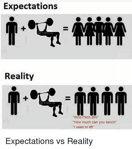 """Memes, 🤖, and Lift: Expectations  Reality  """"Nice Pecs Bro  """"How much can you bench  """"I used to lift Expectations vs Reality"""
