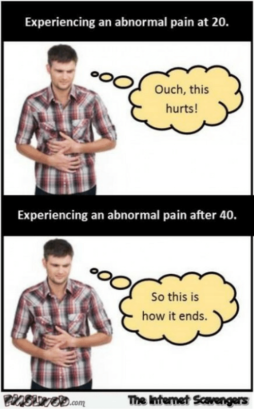 So This Is How It Ends: Experiencing an abnormal pain at 20.  Ouch, this  hurts!  Experiencing an abnormal pain after  So this is  how it ends.  Pinstrv.comT  The Internet Scavengers