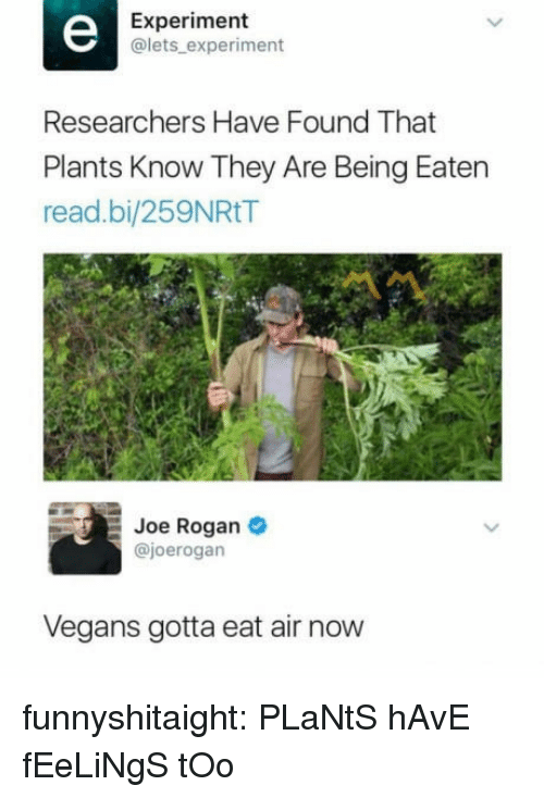 Joe Rogan: Experiment  @lets experiment  Researchers Have Found That  Plants Know They Are Being Eaten  read.bi/259NRtT  Joe Rogan  @joerogan  Vegans gotta eat air now funnyshitaight: PLaNtS hAvE fEeLiNgS tOo