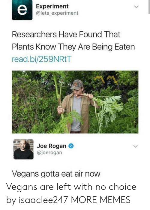 Joe Rogan: Experiment  @lets_ experiment  Researchers Have Found That  Plants Know They Are Being Eaten  read.bi/259NRtT  Joe Rogan  @joerogan  Vegans gotta eat air now Vegans are left with no choice by isaaclee247 MORE MEMES