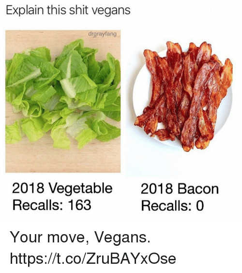 Your Move: Explain this shit vegans  drgrayfang  2018 Vegetable  Recalls: 163  2018 Bacon  Recalls: 0 Your move, Vegans. https://t.co/ZruBAYxOse