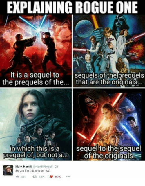 Explaining Rogue One: EXPLAINING ROGUE ONE  It is a sequel to  sequels of the prequels  the prequels of the  that are the originals  in which this is a  sequel to the sequel  of the originals  prequel of but not a  Mark Hamill  Hamill Himself 2h  So am I in this one or not?  431 t 5.5K  9.7K