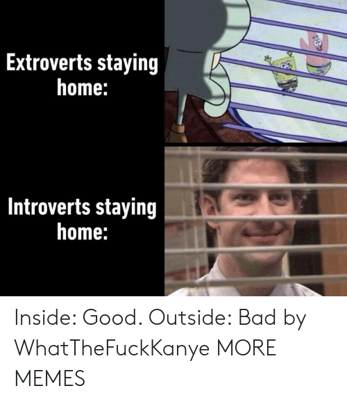 Staying Home: Extroverts staying  home:  Introverts staying  home: Inside: Good. Outside: Bad by WhatTheFuckKanye MORE MEMES