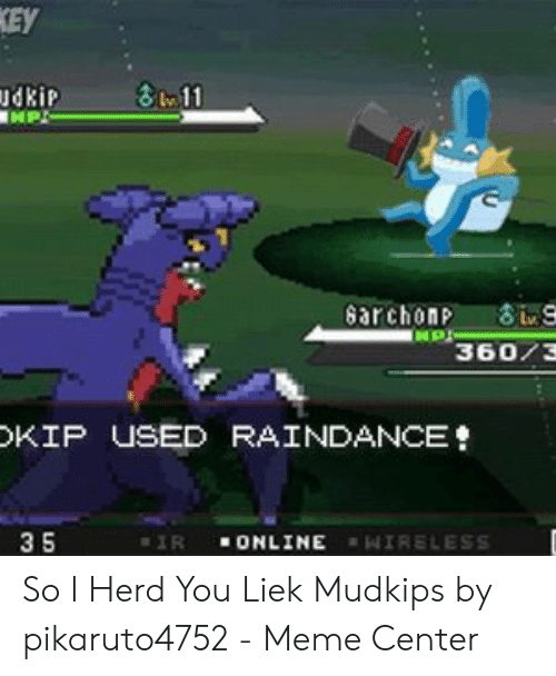 Liek Mudkips: EY  dkiP  36073  KIP USED RAİNDANCE  3 5  ONLINE  IR  14 | RELESS So I Herd You Liek Mudkips by pikaruto4752 - Meme Center