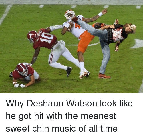 Funny, Watson, and Chin: ezcr14 닢 Why Deshaun Watson look like he got hit with the meanest sweet chin music of all time