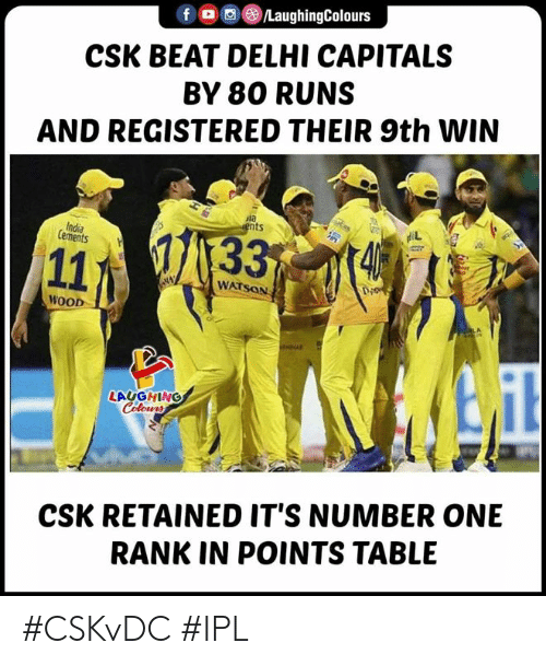 delhi: f。回@)/LaughingColours  CSK BEAT DELHI CAPITALS  BY 80 RUNS  AND REGISTERED THEIR 9th WIN  ula  ts  India  Cements  WATSON  Di  WOOD  LAUGHING  CSK RETAINED IT'S NUMBER ONE  RANK IN POINTS TABLE #CSKvDC #IPL