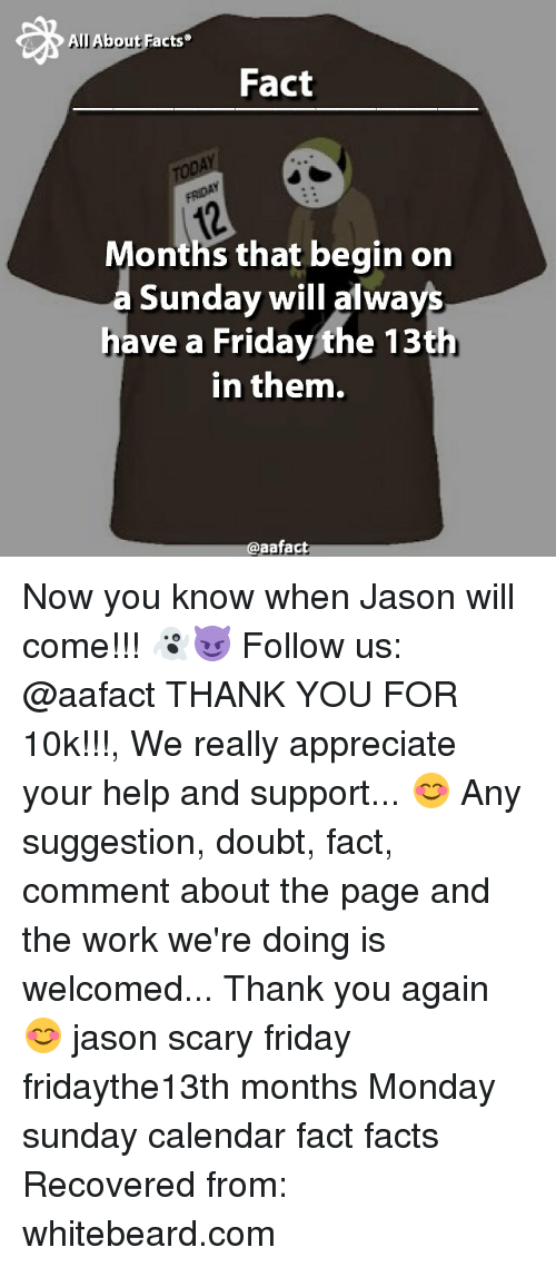 Memes, 🤖, and Page: F  All Abou  acts  Fact  onths that begin on  Sunday will always  have a Fridaythe 13th  in them.  aafact Now you know when Jason will come!!! 👻😈 Follow us: @aafact THANK YOU FOR 10k!!!, We really appreciate your help and support... 😊 Any suggestion, doubt, fact, comment about the page and the work we're doing is welcomed... Thank you again 😊 jason scary friday fridaythe13th months Monday sunday calendar fact facts Recovered from: whitebeard.com