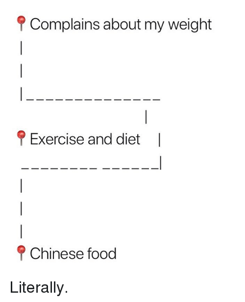 chinese food: f Complains about my weight  Exercise and diet  |  P Chinese food Literally.